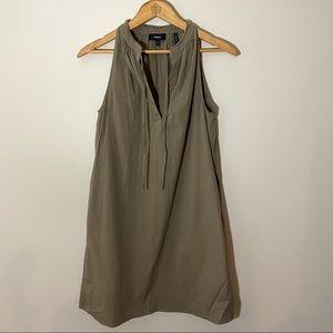 Theory sandy green v neck shirt dress pockets